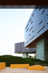 The façade of Steven Holl's horizontal skyscraper in Shenzhen, China