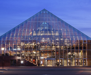 MVRDV's glass and glulam pyramid of books