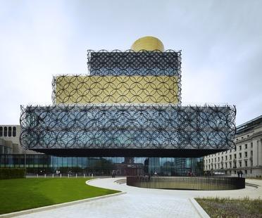 Steel circles on the façade of Mecanoo's Birmingham Library