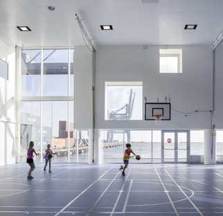 Copenhagen International School with solar panels by C.F. Møller Architects