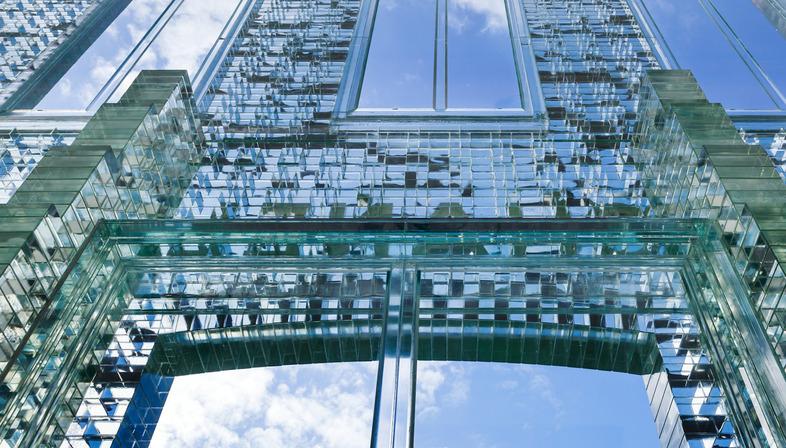 MVRDV's Crystal House: a glass brick façade.