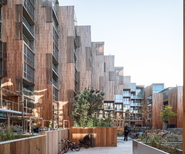 Apartments covered with cedar wood in Gärdet-Stockholm for BIG's 79&Park project