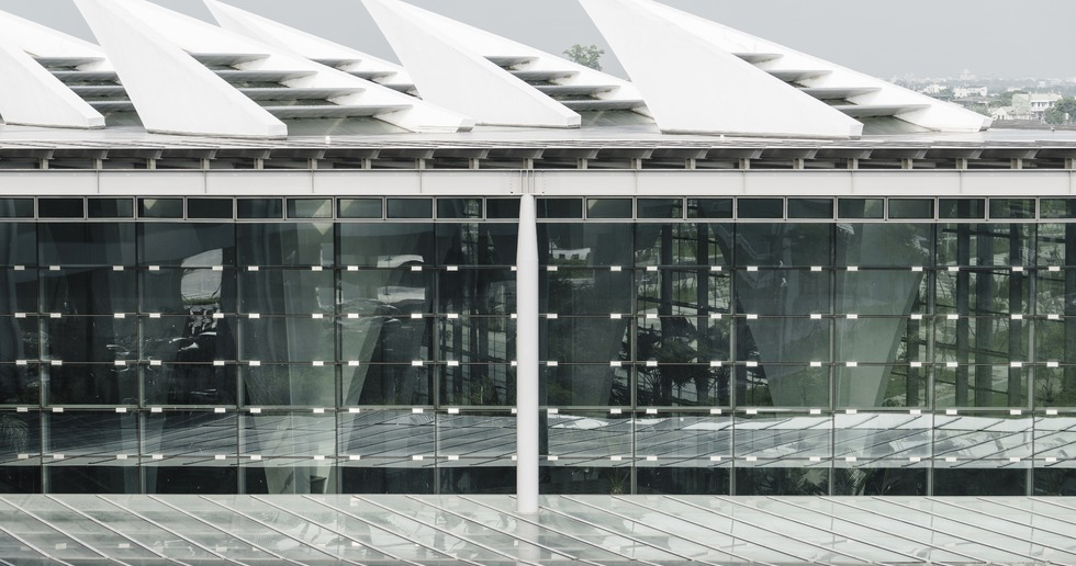 High-speed railway station with hollow pillars in Changhua by Kris Yao