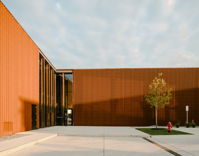 Smart factory made from steel and charred wood