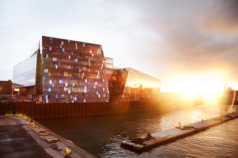 The three-dimensional steel and glass façade of HARPA in Reykjavik