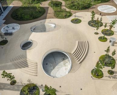 Concrete shells form the hills of COBE's Karen Blixen Square