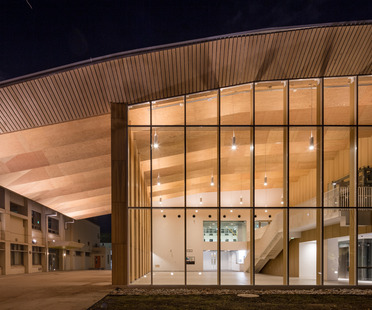 Wooden structure for the ICU New Physical Education Center by Kengo Kuma