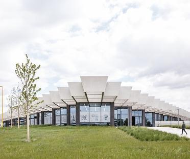 Big concrete beams for COBE's Adidas Headquarters