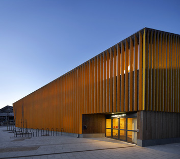 Helen & Hard architects' glue-laminated timber library in Vennesla