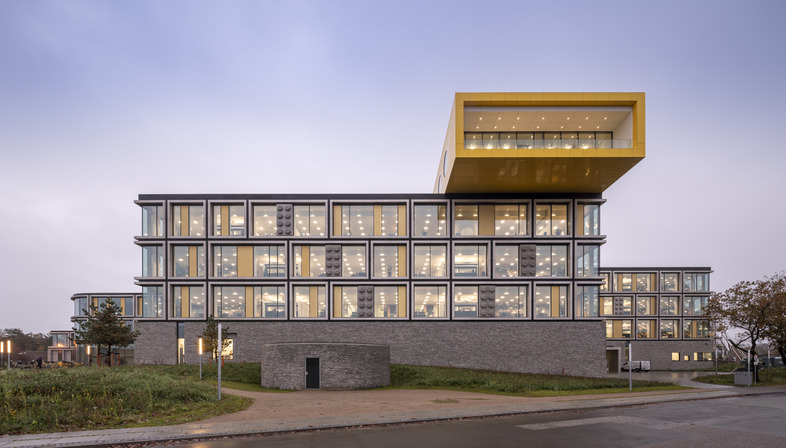 The Lego campus is made of glass, aluminium and stone