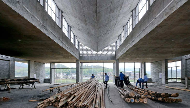 TAO builds a concrete factory for making bamboo rafts