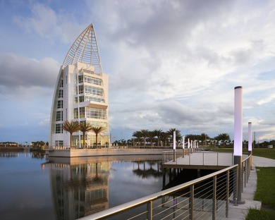 A GWWO tower in Port Canaveral with an iridescent painted façade
