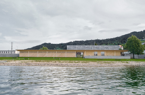 Matt Innauer's timber bathing establishment on the lake