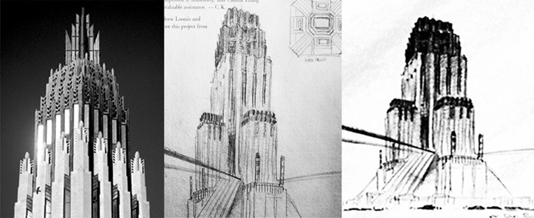 Wayne Tower Center Sketch, Studies on the Tower