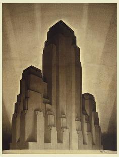 Drawing Study, max massing 1916 zoning, Tower, Hugh Ferriss